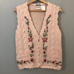 Vintage Bobbie Brooks Knitted By Hand Pink Vest